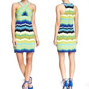 Trina Turk Mod Print Criss Cross Neck Mini Dress